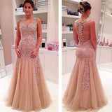 Vintage Lace See Through Mermaid Charming With Appliques Long Prom Dresses.  RG052