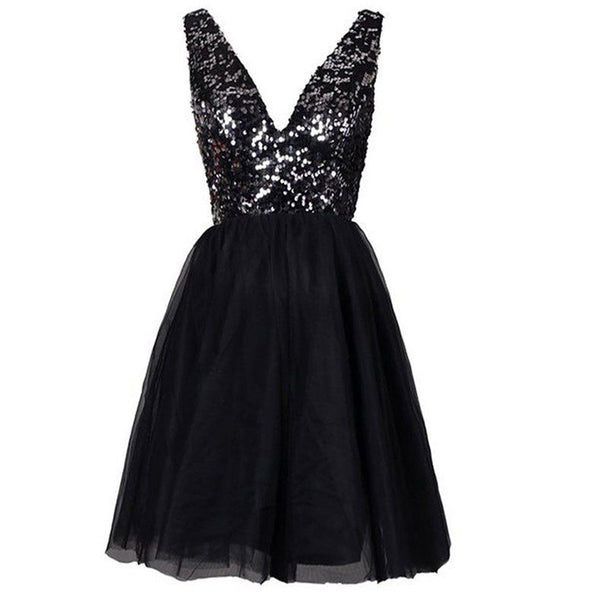 Sequined sparkly open back V-neck sexy Evening Cocktail homecoming prom dress,BD0051