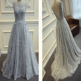 Appliqued V-Back Lace A-line Elegant For Teens Prom Gowns Dresses.PB0001