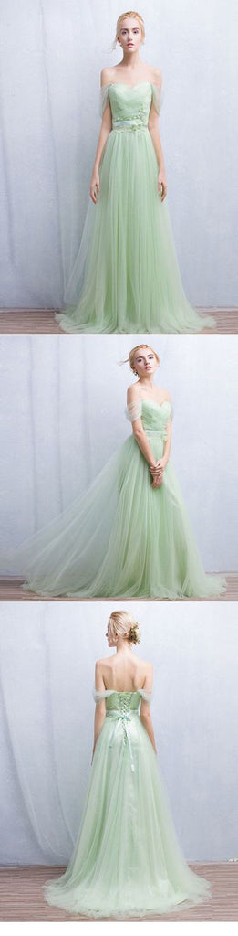 Long Off The Shoulder Tulle Modest For Teens Floor-Length Prom Dresses. PD0210