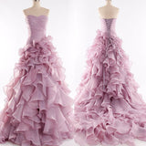 Purple Strapless Princess Ball Gown Evening Party Prom Dresses Long.PB0002