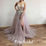 Sexy Spaghetti Strap Beading Appliques Side Split Backless Long Prom Dresses,PB1023