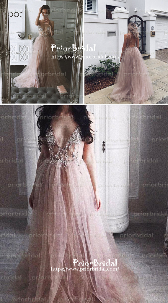 Blush Pink Spaghetti Strap Appliques V-neck Sexy  Backless Long Prom Dresses,PB1024