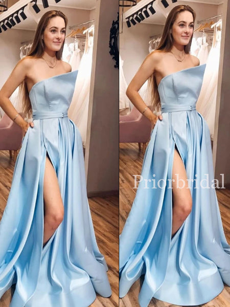 New Arrival Straight Side Slit Satin A-line Long Prom Dresses Evening Dresses.PD1137