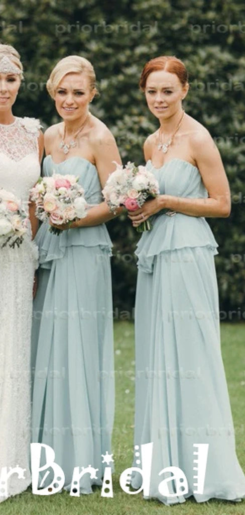 Charming Light Blue Chiffon Sweetheart Strapless Split  Long Bridesmaid Dresses,PB1016