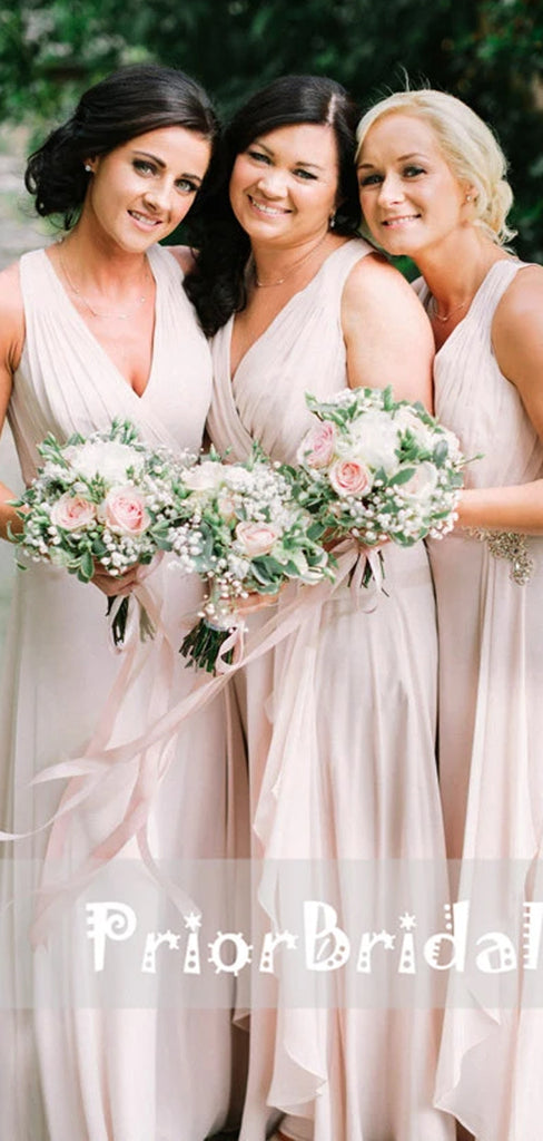 Light Pink Chiffon Sleeveless V-neck Criss-Cross Back  Bridesmaid Dresses,PB1024