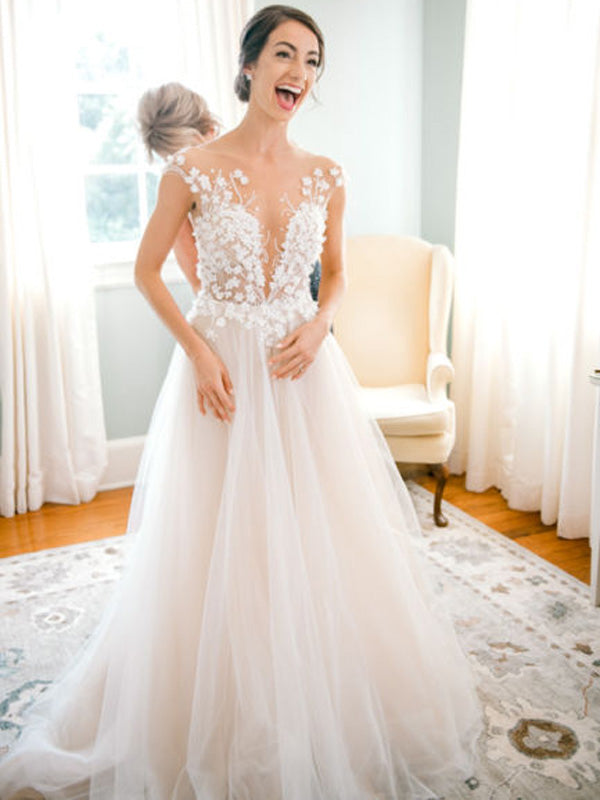 Charming V-neck Lace Tulle A-line See-through Long Wedding Dresses.PB1255