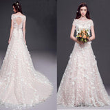 Long A-line Round Neck Cap Sleeve Lace Wedding Dresses, Open Back Cheap Bridal Gown, WD0002
