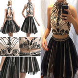 Junior Two Piece Rhinestone Halter Knee-length High Neckline Sleeveless Homecoming Dress, BD00197