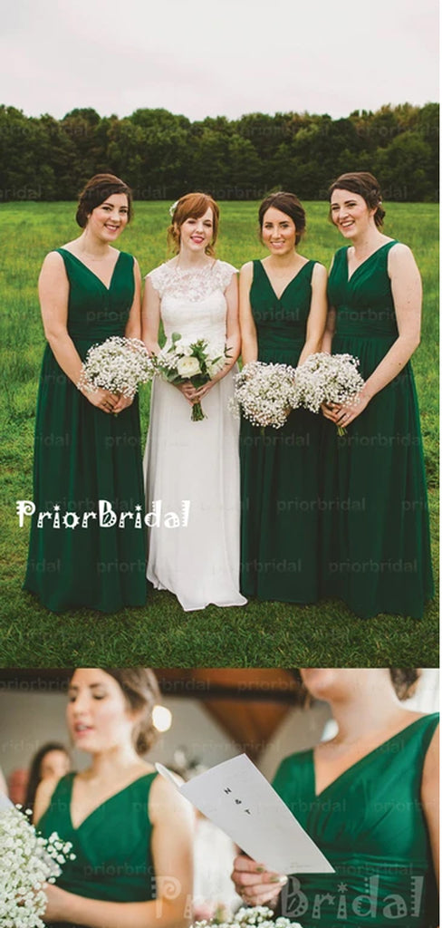 Popular Simple Dark Green Chiffon V-neck Sleeveless Long A-line Bridesmaid Dresses,PB1015
