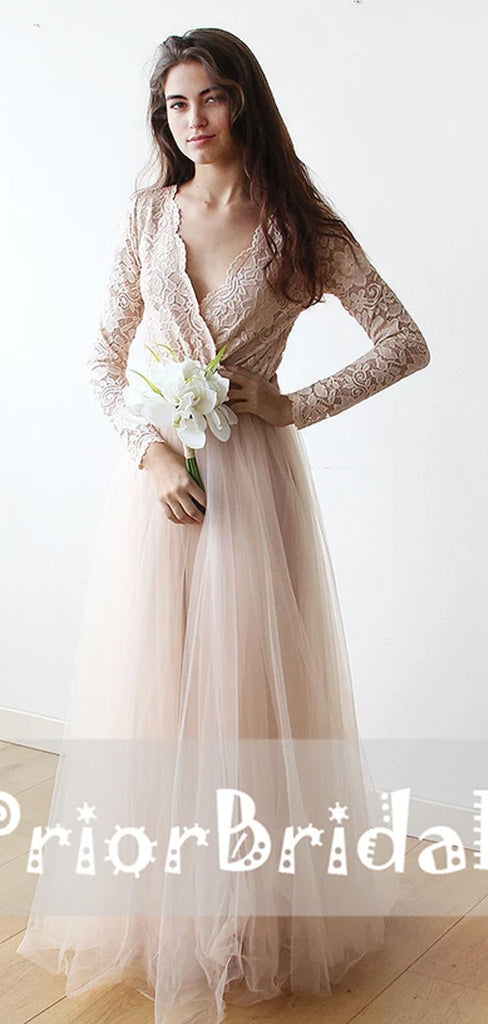 Long Sleeve Blush Pink Lace Top Tulle V-neck A-line  Bridesmaid Dresses,PB1023