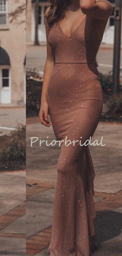 Sexy V-Neck Hot Sale Sequin Mermaid Simple Lace Up Back Long Prom Party Dresses. PD1153