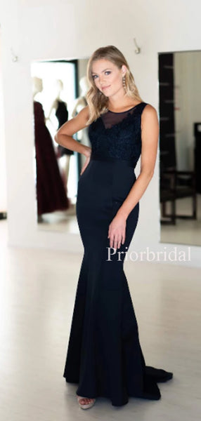 Sexy Scoop Neck Satin Long Evening Dresses Prom Dresses.PD1126