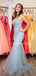 Mermaid V-neck Spaghetti Strap Tulle Open Back Long Prom Dresses Evening Dresses.PB1081