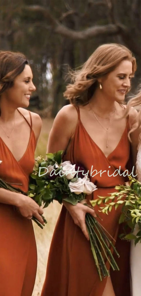 Elegant V-neck Open Back Side Slit Wedding Party Evening Dresses Long Bridesmaid Dresses. PD1172