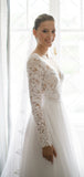 Charming V-neck Tulle Lace A-line Appliques Long Sleeve Long Wedding Dresses. PB1217