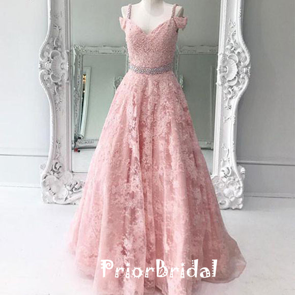 Sweet Peach Lace Off Shoulder With Beading Spaghetti Strap A-line  Long Prom Dresses,PB1026