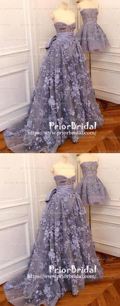 Stunning Lilac Handmade Flowers Strapless Sweetheart Gorgeous Prom Gown Dresses,PB1027