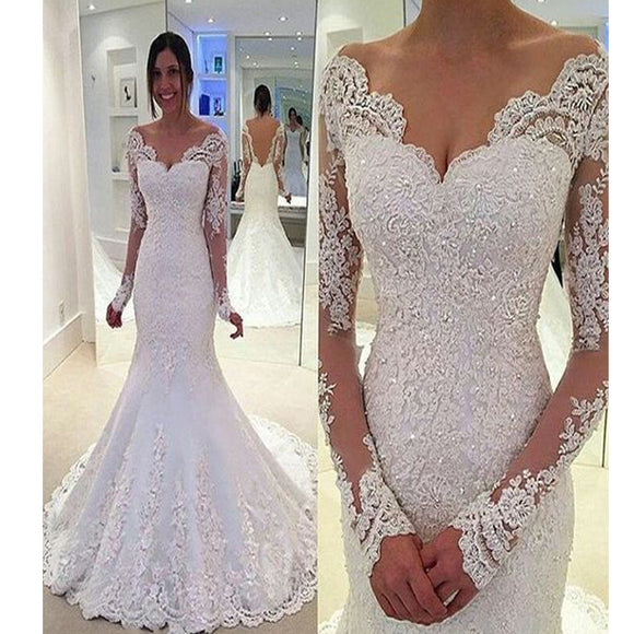 Long Sleeve Lace Mermaid V-Neck Sexy Backless Vintage Wedding Dresses. RG0085