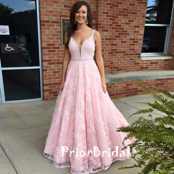 Elegant Spaghetti Strap Pink Lace Deep V-neck Beading A-line  Prom gown Dresses,PB1030