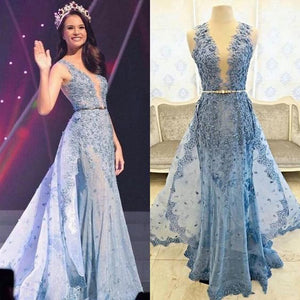 2017 Blue Appliqued Junior Ball Gown Charming Formal Evening Prom Dress. PD022