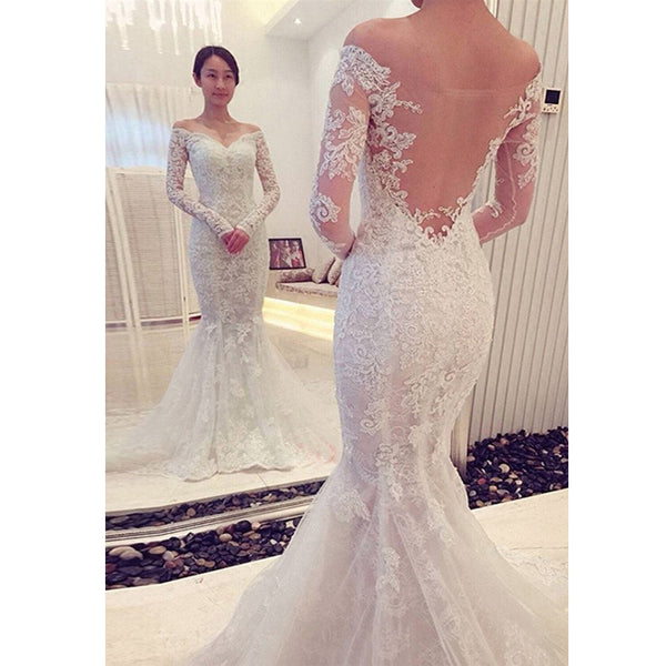 Long Sleeve Lace Mermaid Unique Sexy Formal Wedding Dress , RG0087