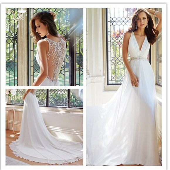 New Arrival V-Neck Sexy Unique Style Elegant Chiffon Wedding Dress Bridal Gown, RG0088
