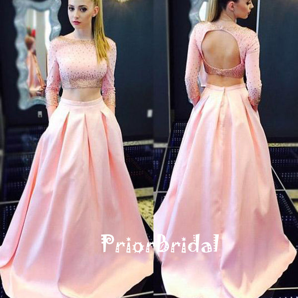Two Pieces Long Sleeve Gold Beading Pink Satin Open Back Prom Gown Dresses,PB1031
