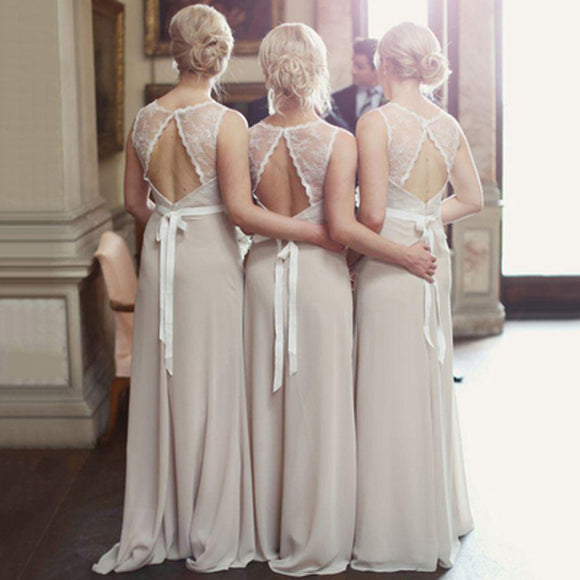 eaf066c072e4 Charming Open Back Lace Top Illusion Cheap Long Wedding Party Dress Gown  Bridesmaid Dresses, WG039