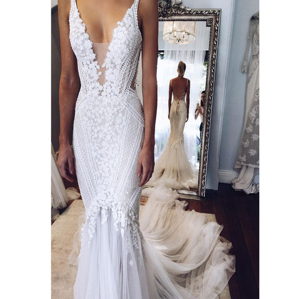 New Vintage Top Lace Mermaid Backless Sexy Wedding Party Dresses, RG0096