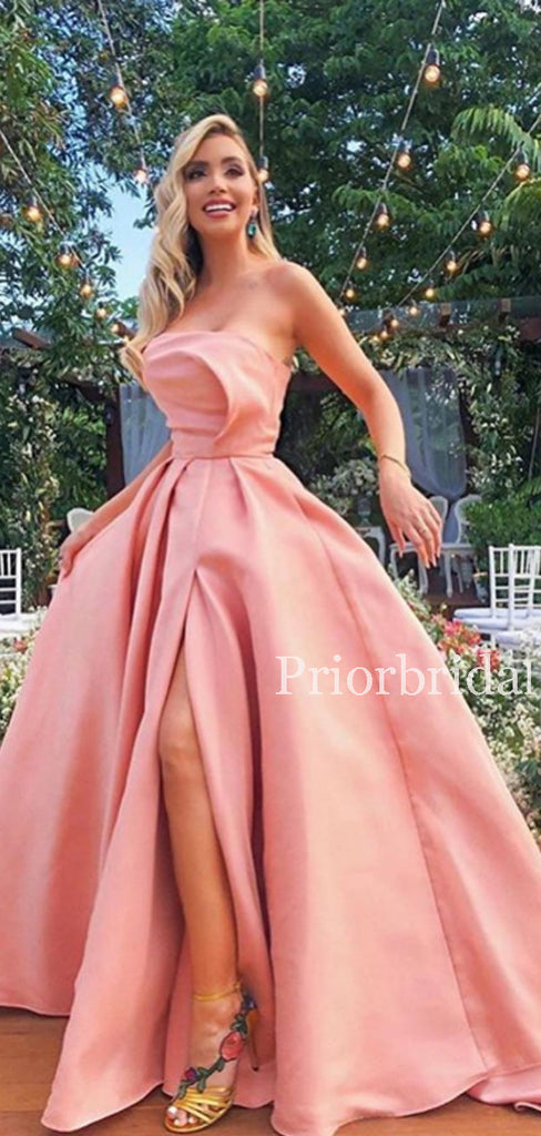 Charming Straight Satin A-line Side Slit Long Evening Dresses Prom Dresses.PD1127