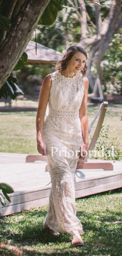 Beautiful Scoop Neck Lace Tulle Sleeveless Floor Length Long Wedding Dresses.PB1145