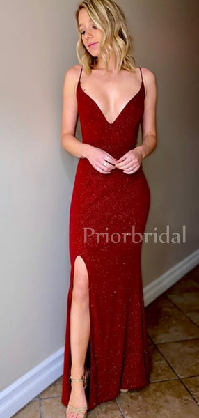 Charming V-neck Side Slit Lace Up Back Long Prom Dresses Evening Dresses.PB1091