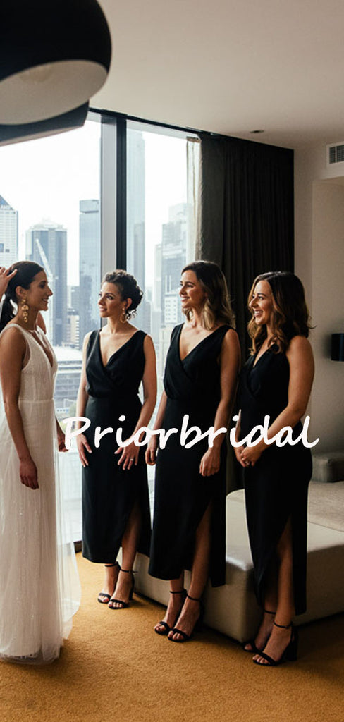 Sexy Simple V-neck A-line Side Slit Evening Dresses Bridesmaid Dresses.PB1234