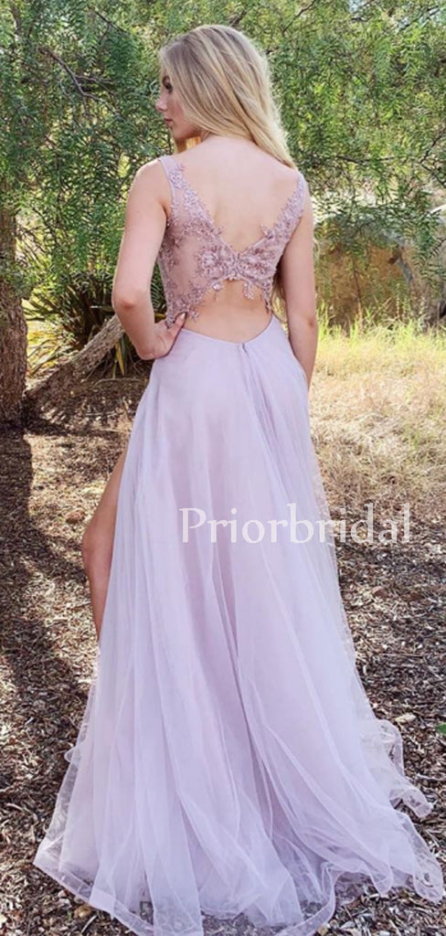 Gogerous V-neck Tulle Lace Long Prom Dresses Evening Dresses.PB1124