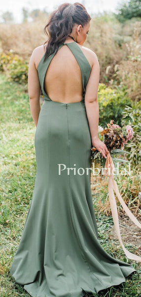 Mermaid Halter Open Back Zipper Up Side Slit Long Bridesmaid Dresses.PB1138