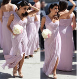Chiffon One Shoulder Lilac Simple Elegant For Wedding Part Long Bridesmaid Dresses.BD0300