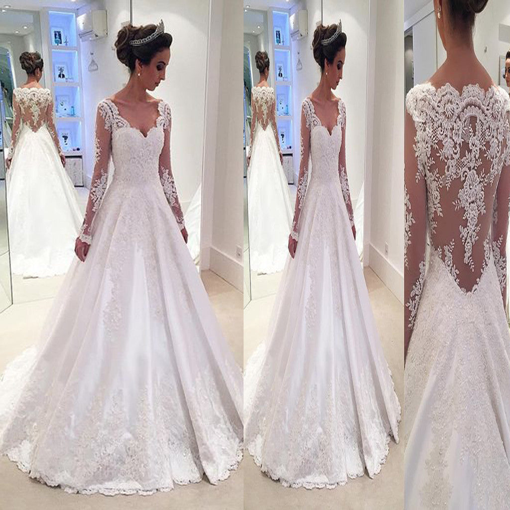 Formal Wedding Dresses.Vintage Lace With Long Sleeves See Through Ball Gown Formal Wedding Dresses Rg0114