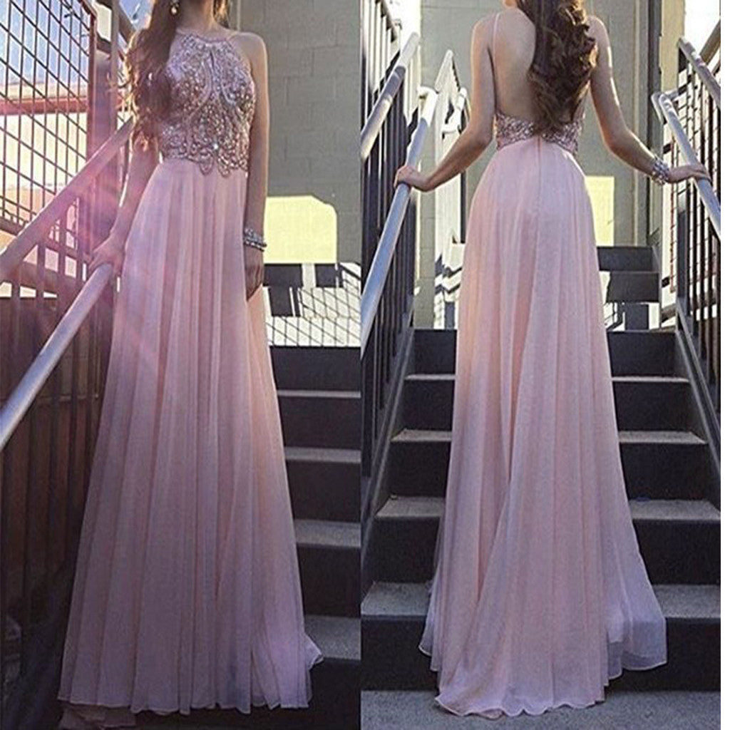 Pink Spaghetti straps Backless Sexy Sparkly Formal Evening Prom Dress Long.PB1007