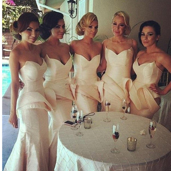 New Champagne Strapless Unique Style Mermaid Sexy Long Bridesmaid Dresses. RG0005