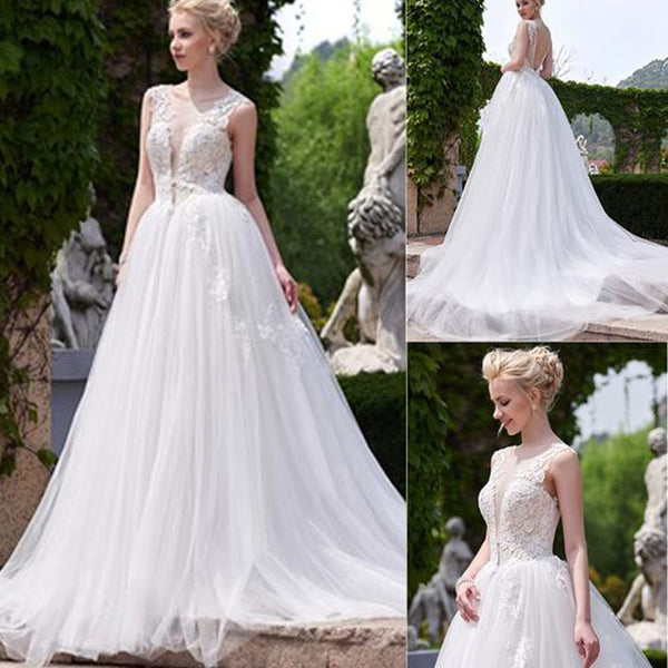 New Arrival Princess Vintage V-Back Ball Gown Lace Country Wedding Dress. RG0181