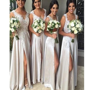 New Appliques With Slip Side Chiffon Young Girls Wedding Party Long  Bridesmaid Dresses. RG0006