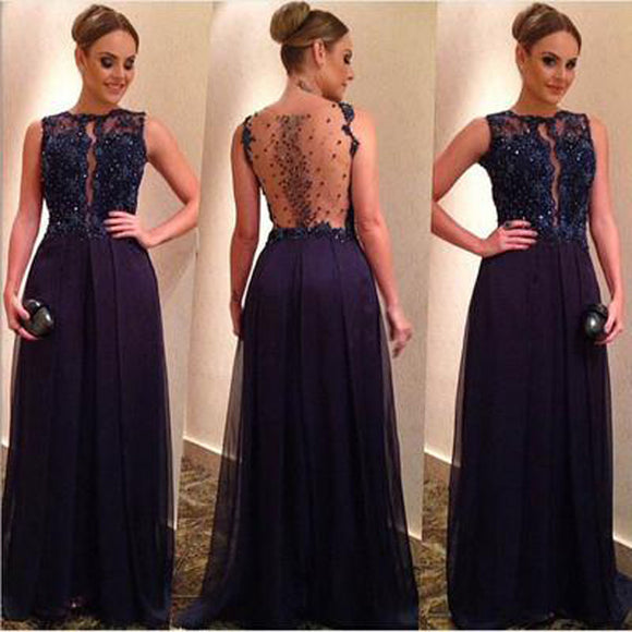 Navy Blue Beaded A-line Sparkly See Through Unique Prom Dress. PB1005