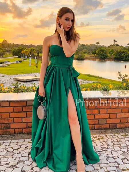 New Arrival Straight Side Slit Satin Long Prom Dresses Evening Dresses.PD1139