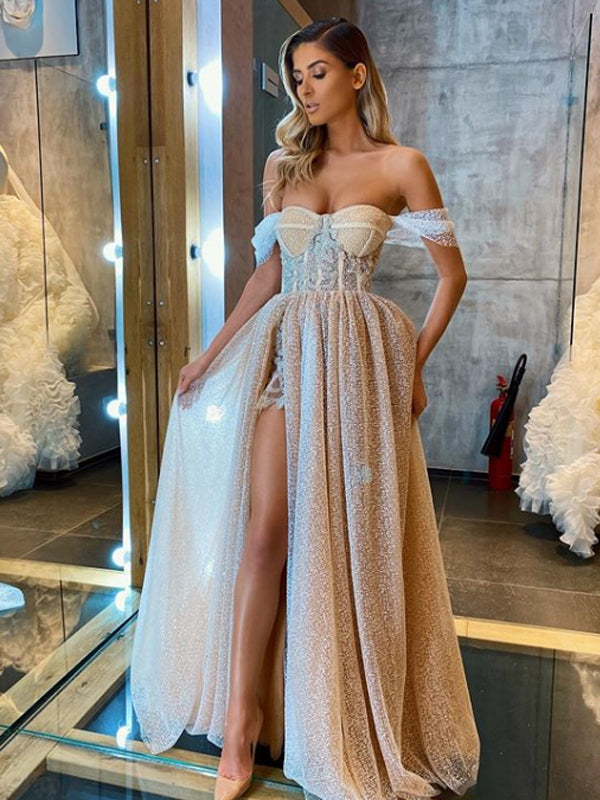 Elegant Cocktail Off-shoulder Side Slit Sequin Tulle A-line For Young Girls Evening Long Prom Dresses.PB1199
