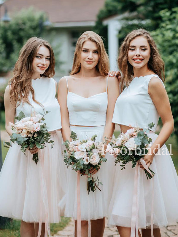 Charming Two Piece Tulle A-line Long Bridesmaid Dresses. PB1155