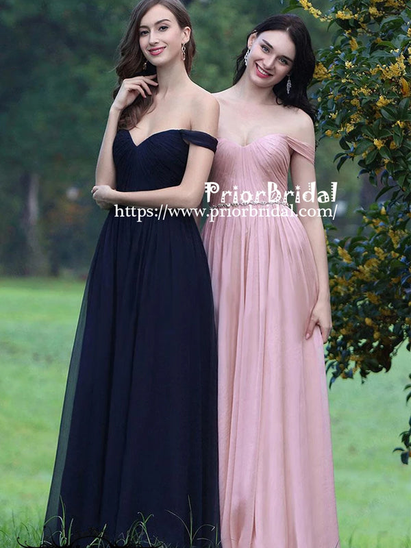 Simple Affordable Off Shoulder Pink Pleating Sweetheart A-line  Bridesmaid Dresses,PB1022