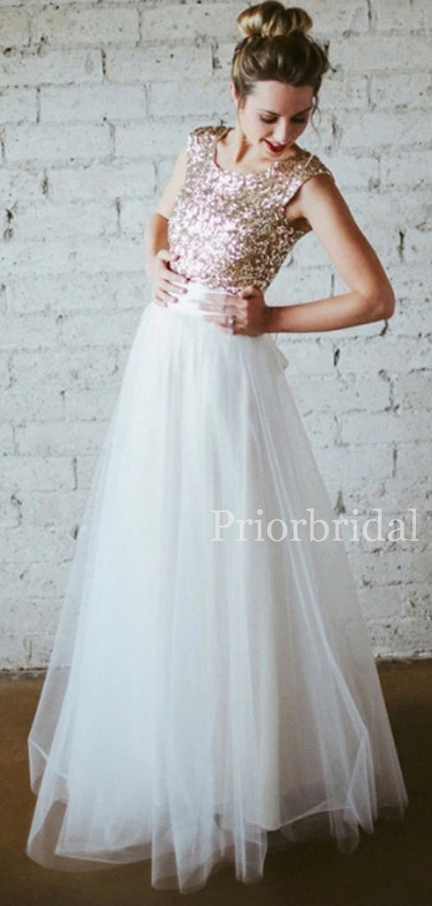 Charming Scoop Neck Sequin Tulle A-line Bridesmaid Dresses.PB1150