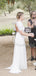Beautiful Scoop Neck Lace Chiffon Short Sleeve Side Slit Open Back Long Wedding Dresses.PB1146