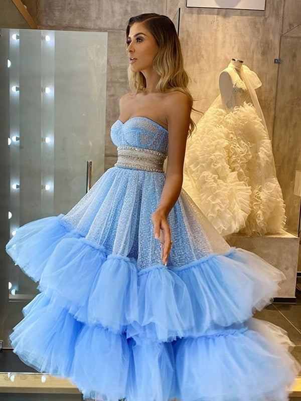 Elegant Cocktail Straight Ball Gown Sequin Tulle A-line For Young Girls Evening Long Prom Dresses.PB1200